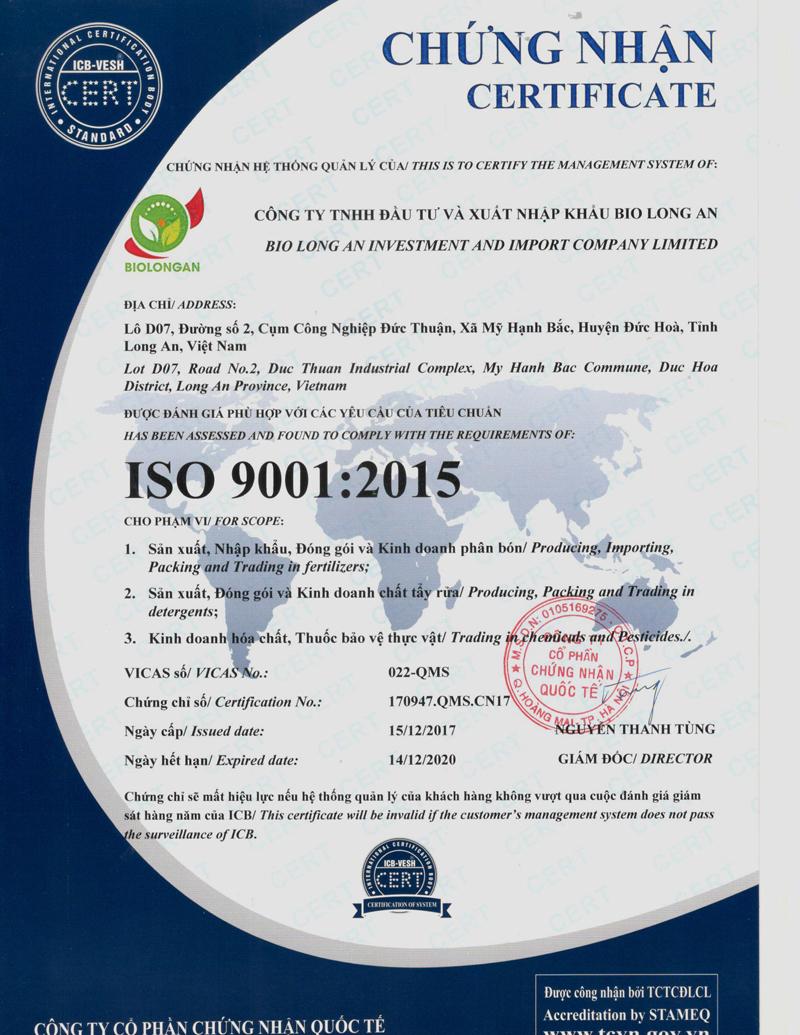 Chứng nhận hệ thống quản lý phù hợp với các yêu cầu tiêu chuẩn ICO 9001:2015